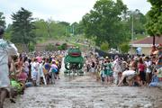 Frog approaches the mud at the 2012 Baltimore Kinetic Sculpture Race.