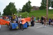 Mario Kart crosses the finish line in Federal Hill at the 2012 Baltimore Kinetic Sculpture Race.