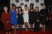 From left, Patricia Arquette, Gayle King, Robin Bronk, Lani Hay, Lola Ogunnaike, Greta Van Susteren and Sharon Stone attend the Celebrating The Arts In American Dinner Party With Distinguished Women In Media, presented by Landmark Technology Inc. and The Creative Coalition, at Neyla on April 26.
