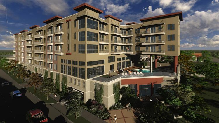Irving-based developer JPI/TDI's Jefferson Heights luxury apartment community will be at the corner of Memorial Drive and Houston Avenue and will feature a pool overlooking downtown.
