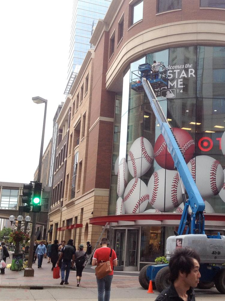 Target put the All-Star Game logo on its downtown Minneapolis storefront last week.