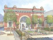 An artist's rendering of what the Moffat Depot building will look like after being transformed into a community center at a senior living development.