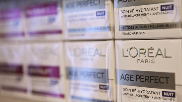L'Oreal skin-care products sit displayed for sale in a cosmetics store.