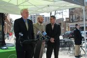 Mayor Tom Barrett, Ald. Nik Kovac and Jim Plaisted, executive director of the East Side Business Improvement District announce the Zipcar partnership.