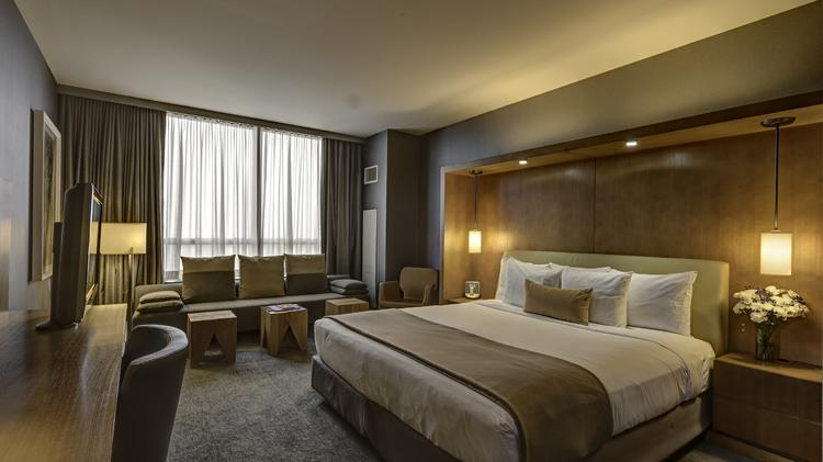A guestroom at the Intercontinental Chicago O'Hare Hotel, which has been acquired by Loews Hotels & Resorts.