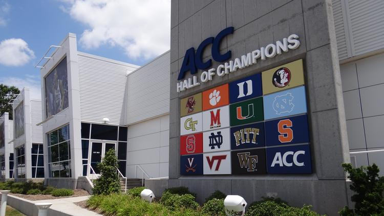 The sign outside the ACC Hall of Champions has seen a lot of moving pieces during the past several years as the conference's membership has expanded. Still to be done is to replace the University of Maryland logo with that from the University of Louisville.