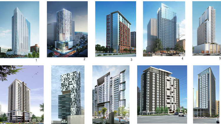 Humphreys & Partners suggested apartment tower designs for the site Alatus wants to develop. Click here to view a larger version of this image in a new tab.