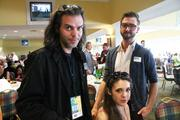 Bil Brown, left, chief operating officer of Black and Grey Magazine; Atlanta Northcutt; and Gunnar Deatherage, of Project Runway, were among the special guests at the Kentucky Derby Festival's Celebrity Day at the Downs.