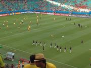 U.S. and Belgium teams warm up before their match on Tuesday.