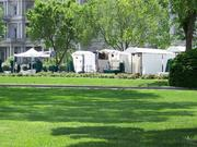 """The existing appearance of media canopies on the White House grounds has been described as """"haphazard"""" and not befitting the National Historic Landmark."""