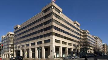 The Advisory Board Co. is weighing potential alternatives to its headquarters at 2445 M St. NW, shown here, and 1227 25th St. NW.