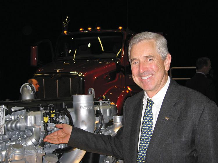 Mark Pigott, chairman and CEO of Bellevue-based truck builder Paccar Inc., points out the company's newest engine, an 11-liter model that initially will be sold only in Europe. Most trucks sold in North America use larger engines. The new vehicle power plants are part of Paccar's global sales strategy, which Pigott described after the company's April 29 annual meeting.