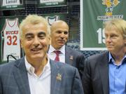 From left, Milwaukee Bucks owner Marc Lasry, head coach Jason Kidd and owner Wes Edens