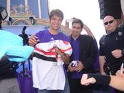 Kaká makes an appearance at the Wall Street Plaza World Cup watch party on July 1.