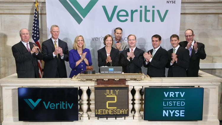 Executives from Veritiv Corp. ring the New York Stock Exchange bell on July 2.