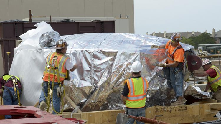 One half of the cyclotron, which has traveled 5,000 miles from Belgium to the Texas Center for Proton Therapy in Irving.