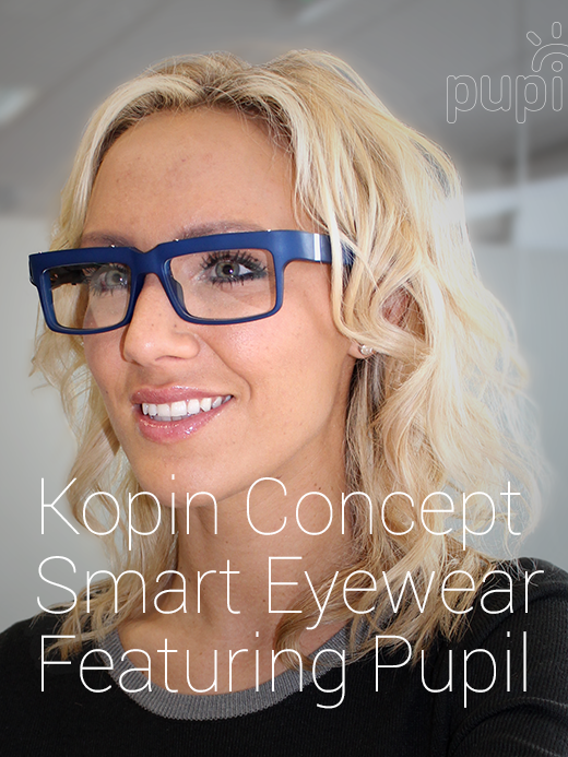 """Kopin Corp.'s latest model of """"smart glasses"""" with an an """"invisible"""" screen that features a display within the lens."""