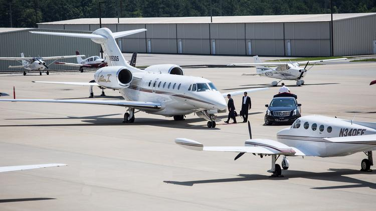 Corporate Jets on the tarmac at TAC Air Terminal, RDU Airport.