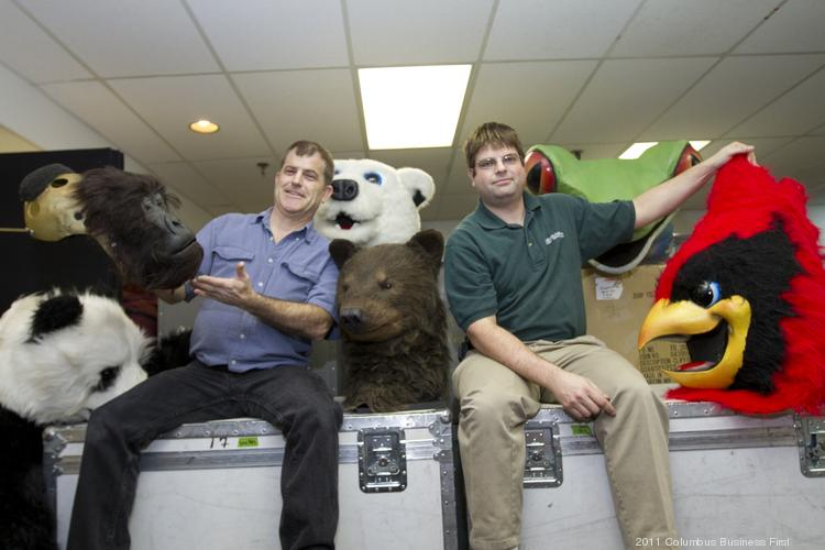 Mascot Organization founders Matt Brady, left, and Adam Bonner started out as a mascot talent agency in Brady's basement in Philadelphia. Their company, now in Worthington, has grown into a full-service mascot services firm.