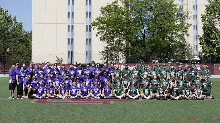 The rival teams in the annual Blondes versus Brunettes flag-football game.