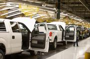 This the Ford F150 truck assembly line at the Ford Kansas City Assembly Plant in Claycomo.