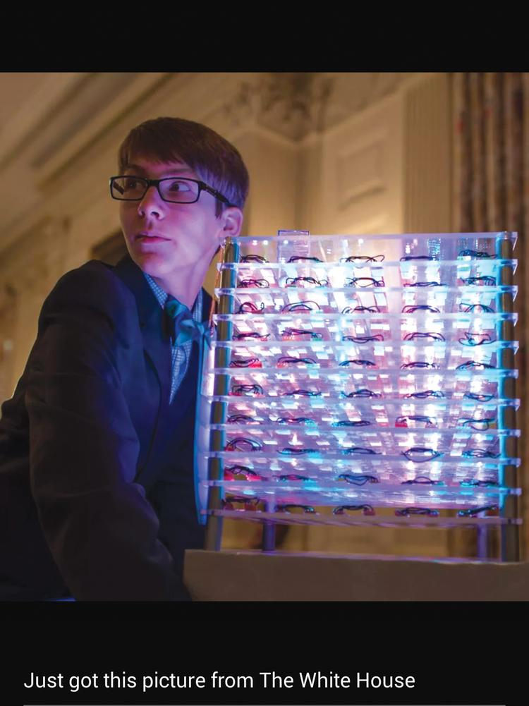 Joey Hudy took his 10-inch LED cube to the Maker Faire at the White House.
