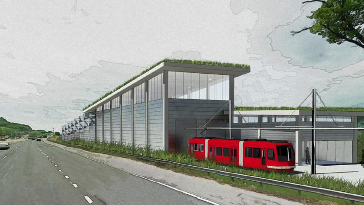 The planned $15 million Anacostia streetcar maintenance and operations facility, as seen from Interstate 295. The building will be reviewed by the National Capital Planning Commission on July 10.