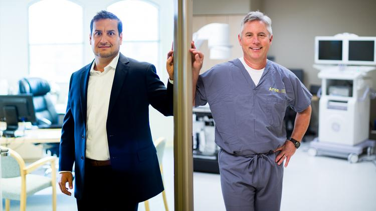 Jared Leger, left, CEO and managing partner of Arise Healthcare, co-founded the company in 2009. Dr. Robert Wills, right, Arise Healthcare's chief medical officer, co-founded the company with Leger. They are also partners in the ownership group.