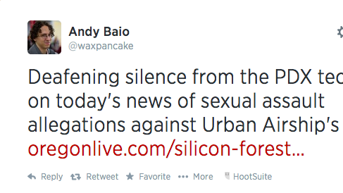 This Tweet from Andy Baio spurred a robust discussion following a report on the sexual assault allegations made against Urban Airship CEO Scott Kveton.