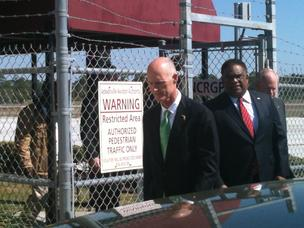 Gov. Rick Scott was at Craig Air Center in Jacksonville Thursday, calling on Congress to do their jobs and avoid sequestration.