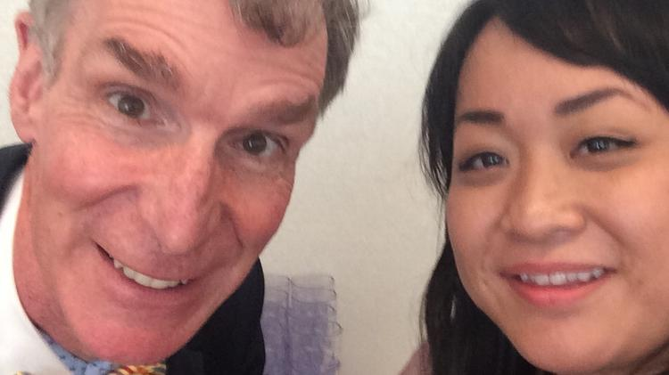 Scientist and television personality Bill Nye shares a selfie with PSBJ Audience Development Director Jenn Banday at the Gates Foundation in Seattle.