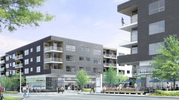 This rendering depicts the northeast corner of 47th Place and Rainbow Boulevard in Westwood, where ground will be broken for the first phase of the roughly $70 million Woodside Village mixed-use project. The first phase will include 91 luxury apartment units and 20,000 square feet of retail space.