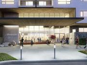 A lobby in the large second-phase Woodside Village apartment and retail structure is depicted in this rendering. The building will be located on the south side of 47th Place.