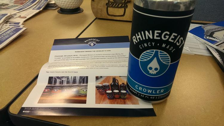 """Rhinegeist on Tuesday introduced a 32-ounce customizable """"crowler"""" can to its lineup of ways to drink its beers."""