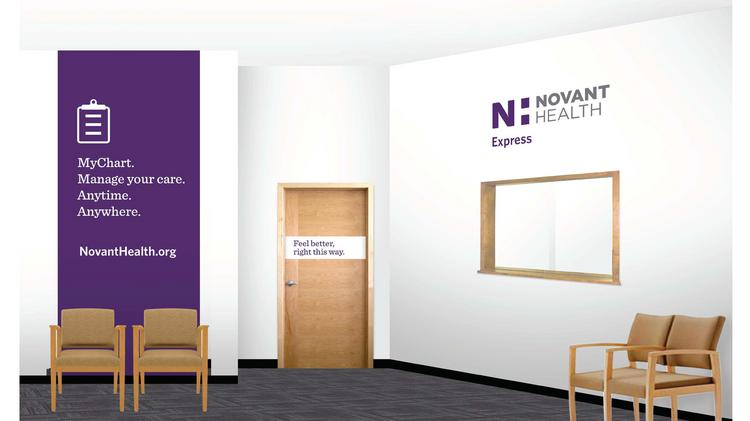 A rendering of the waiting area at Novant Health Express. The medical clinics will provide patients access to walk-in care.
