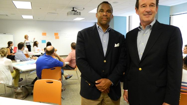 Terry Booker (left), vice president business development and innovation at IBC, with Steve Udvarhelyi, the company's chief strategy officer, at the IBC Center For Innovation.
