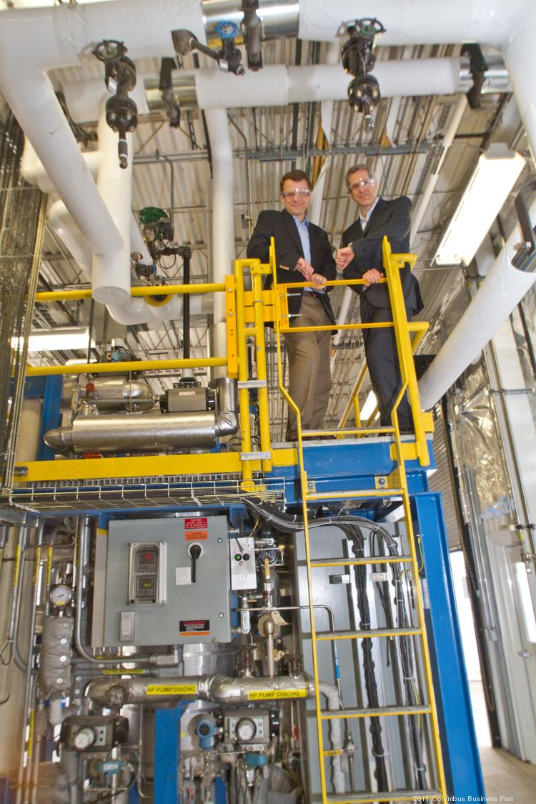 Velocys executives Jeff McDaniel, left, and Roy Lipski think the company's method of building gas-to-liquid conversion plants fills a need by allowing them to be constructed near remote oil and gas fields.