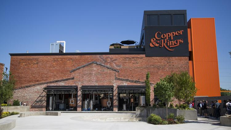 The Copper & Kings brandy distillery is nearing completion and will open its doors to the public for a soft opening Friday evening. The distillery is located in this converted warehouse in Butchertown.
