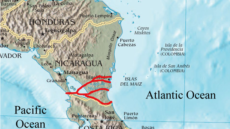 Various proposed routes for Nicaragua Canal
