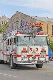A McMahan Fire Protection District truck participates in the Pegasus parade.