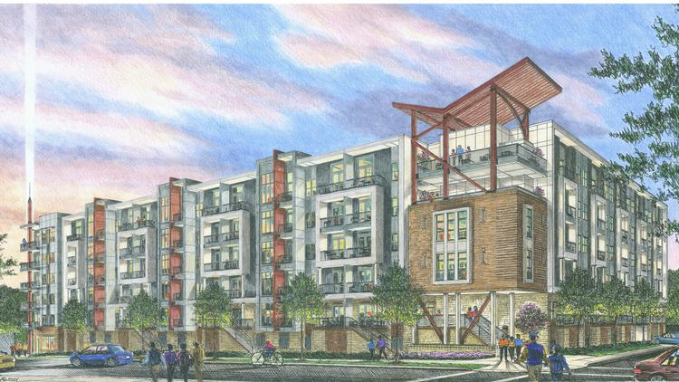 A rendering by Risden McElroy of Woodfield's planned apartment project on South Graham Street.