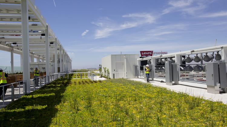 View from the top: A 27,000-square-foot rooftop garden with low-water plants and rows of solar panels is one of several environmentally-minded features at the San Francisco 49ers' $1.3 billion Levi's Stadium.