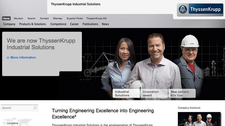 A screen shot of the ThyssenKrupp Industrial Solutions website.