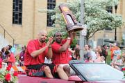The U of L Cardinals, 2013 NCAA Champions, were the grand marshals of the Pegasus Parade, along with the women's team.