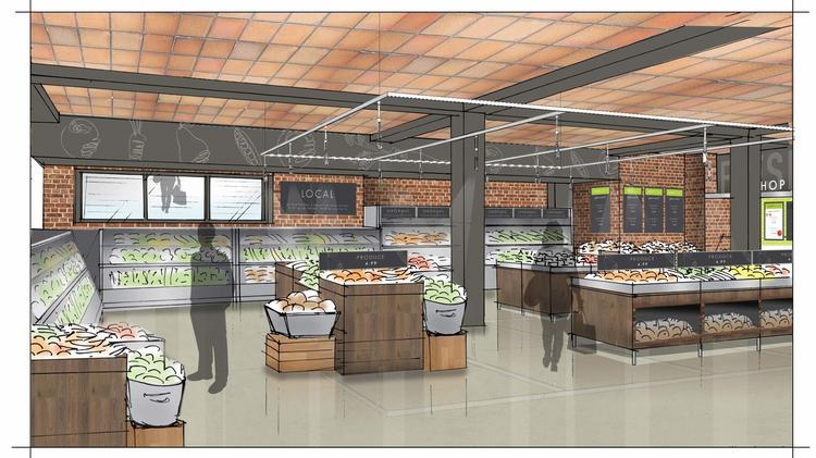 An artist rendering of the produce section of the new Roche Bros. store in Downtown Crossing slated to open next year.