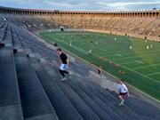Athletic facilities at local universities will play a key role in Boston's bid for the 2024 Olympics. Pictured here is the November Project's weekly stair run at Harvard Stadium in Allston.