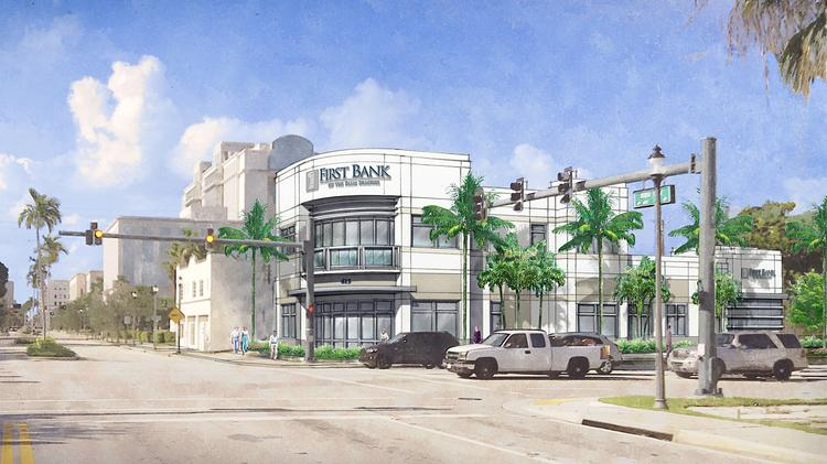 First Bank of the Palm Beaches' new building is on North Dixie Highway at Quadrille Boulevard, with access to both streets.