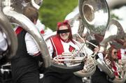 The tuba players for U of L marching band got into their routine for the judges' stand.