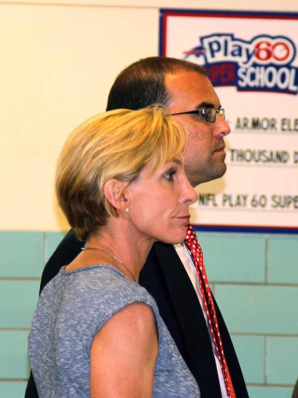 School board member Catherine Schrauth Forcucci was the subject of a June 30 hearing in Hamburg. To her left is schools Superintendent Richard Jetter.