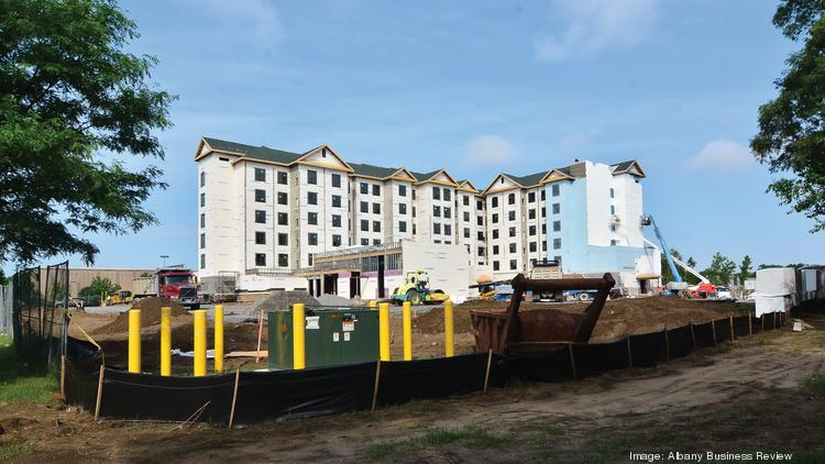The 115-room Staybridge Suites off Wolf Road in Colonie is roughly 50 percent completed.